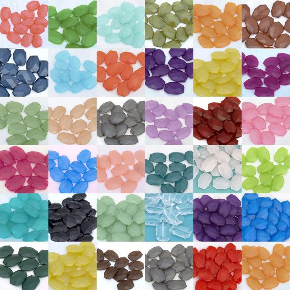 100 pcs Acrylic Wholesale Large Facet Beads 35mm x 24mm or 30mm x 21mm Chunky Statement Necklace Drilled Loose Bead Your Choice of Colors
