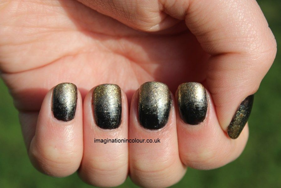 Antique Nail Art Grant Nails Black And Gold Silver Faded Ombre Polish