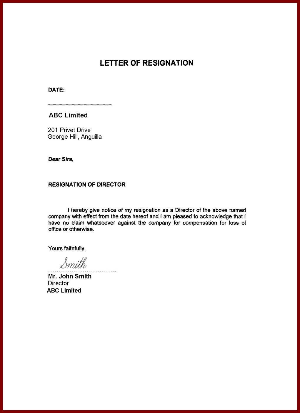 What Should You Write Letter Of Resignation Template