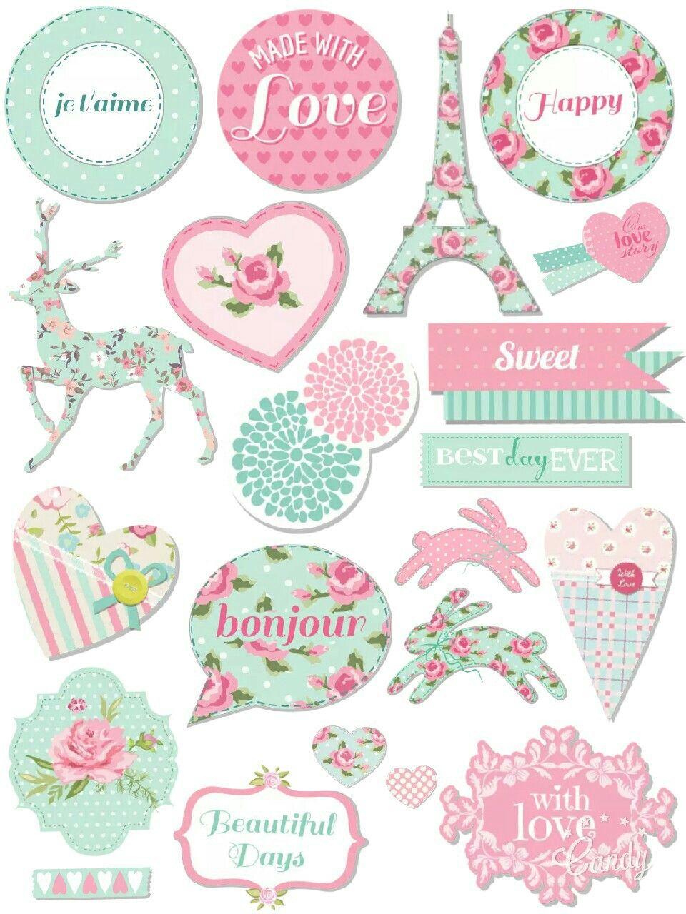 Pastel Sticker Printable #sticker#printable#pastel#pink#mint#flowers#sweet#cute#scrapbooktools#diy#candycameraapp