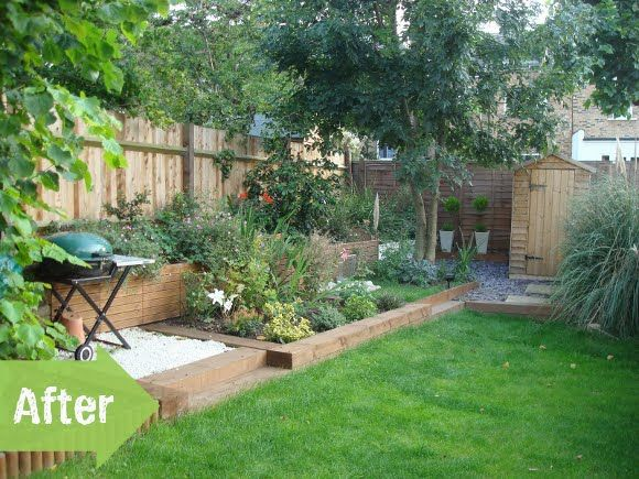 Backyard Garden Ideas Before And After before & after, slope, diy, retaining wall, timbers, shed | garden