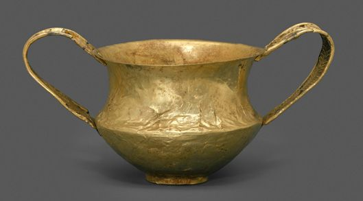 Gold kantharos (drinking cup with two high vertical handles), ca. 1550–1500 B.C. Helladic, Mycenaean; Late Helladic I