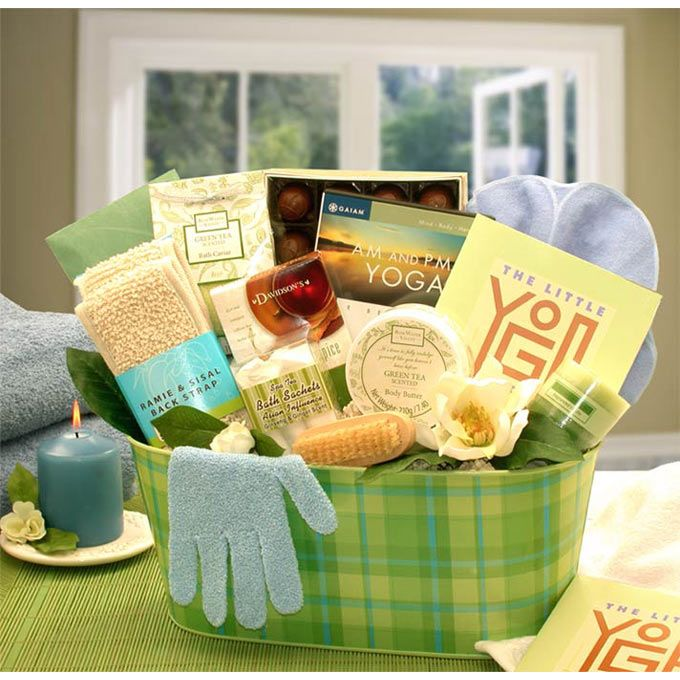 Yoga gift baskets got my name written allll over it d if she is trying to make health conscious decisions this year this is the prefect gift for her weve included a fully illustrated yoga book as well as negle Choice Image