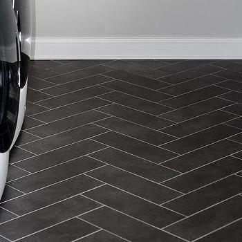 Black Herringbone Laundry Floor Tiles With Images Tile