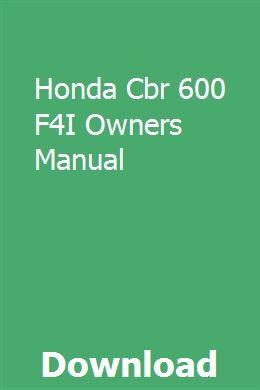 2004 honda cbr600f4i motorcycle owners manual -cbr 600 f4i-honda.