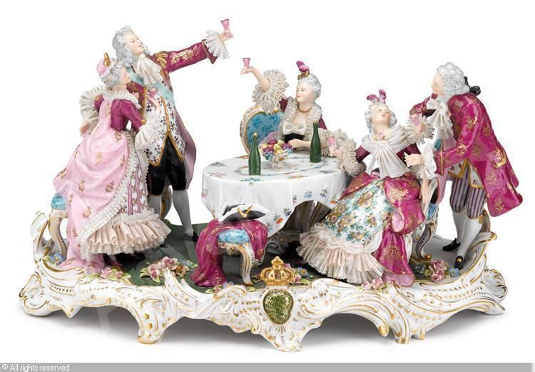 Figures in eighteenth-century dress engaged in drinking and festivities sold by Freeman Fine Arts, Philadelphia, on Tuesday, May 20, 2014