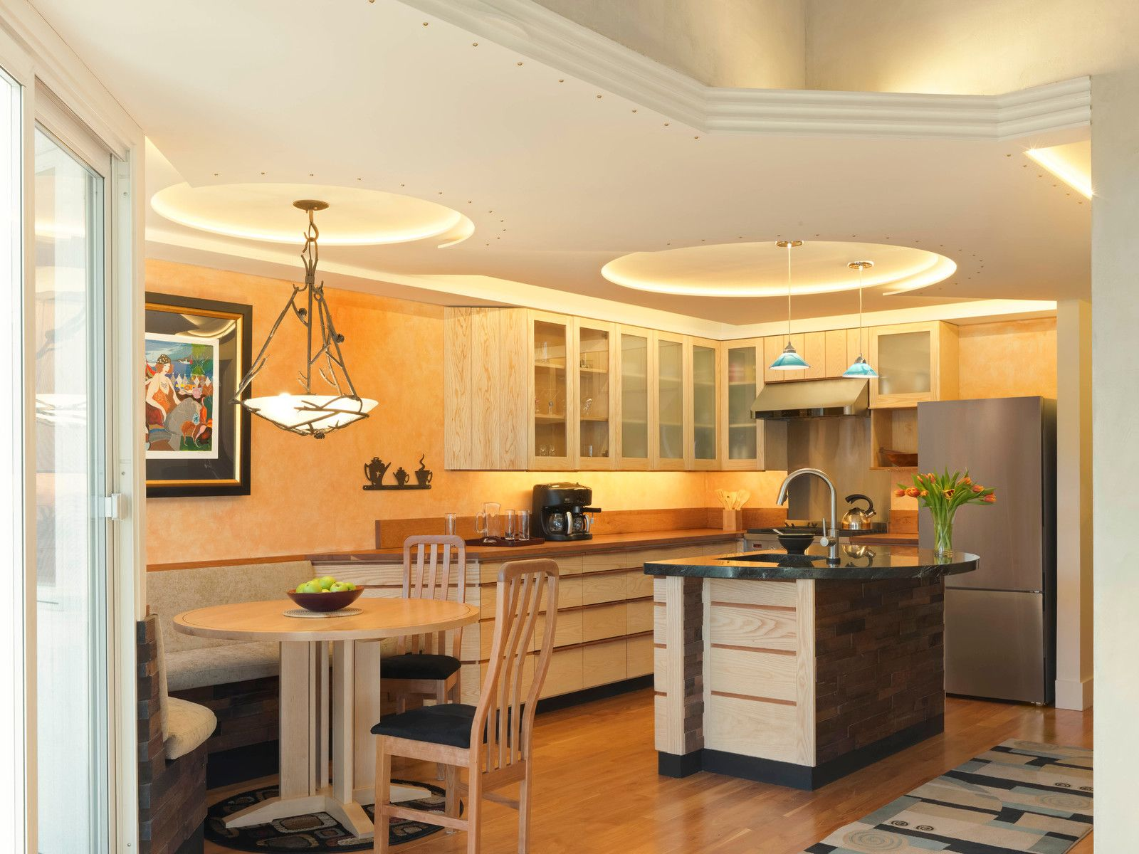 Eat-in kitchen - contemporary l-shaped medium tone wood floor and beige floor & Eat-in kitchen - contemporary l-shaped medium tone wood floor and ...