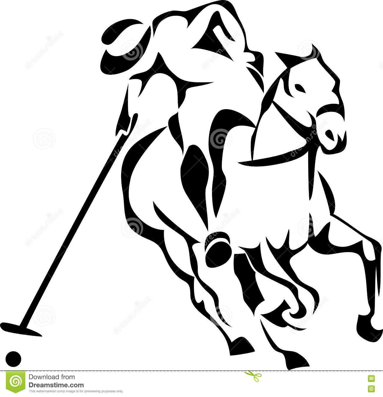 Download Horse Polo Player Cartoon Vector via