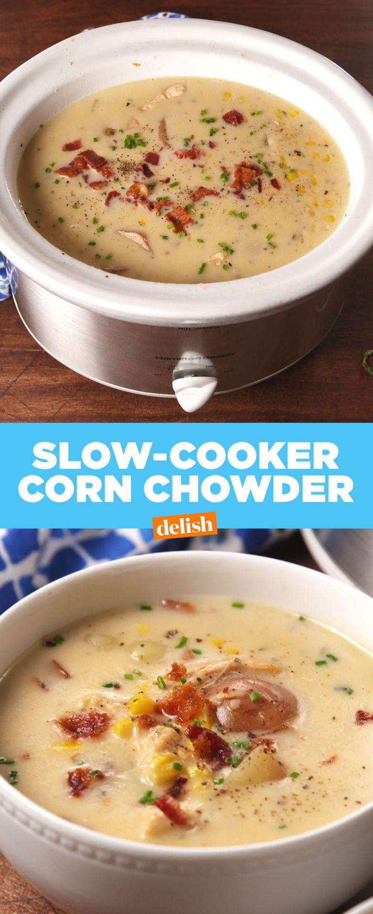 Slow Cooker Corn Chowder Recipe Food Pinterest Slow Cooker
