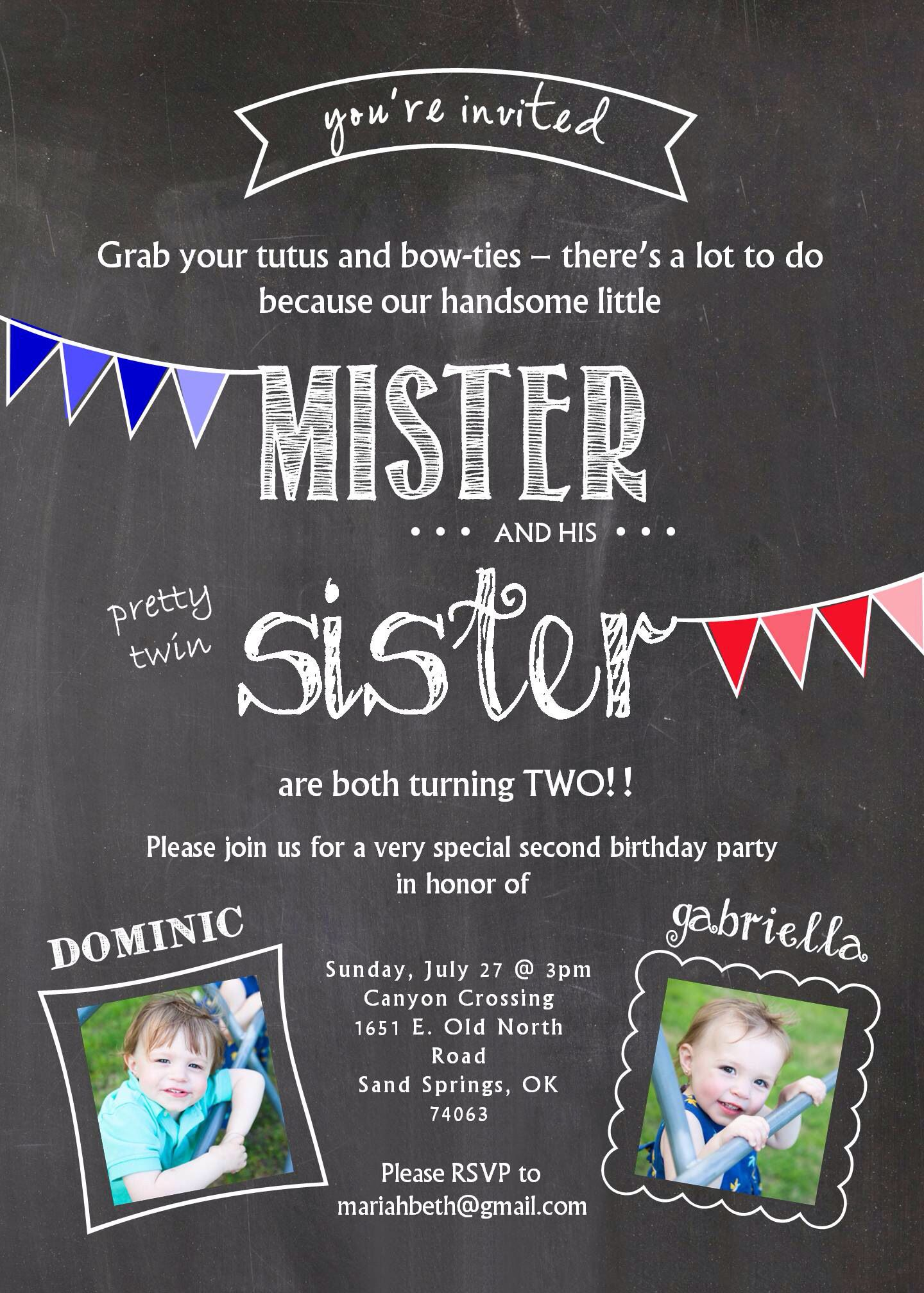 Twin Birthday Invitation Two Years Old Boy Girl Twins Gender Neutral