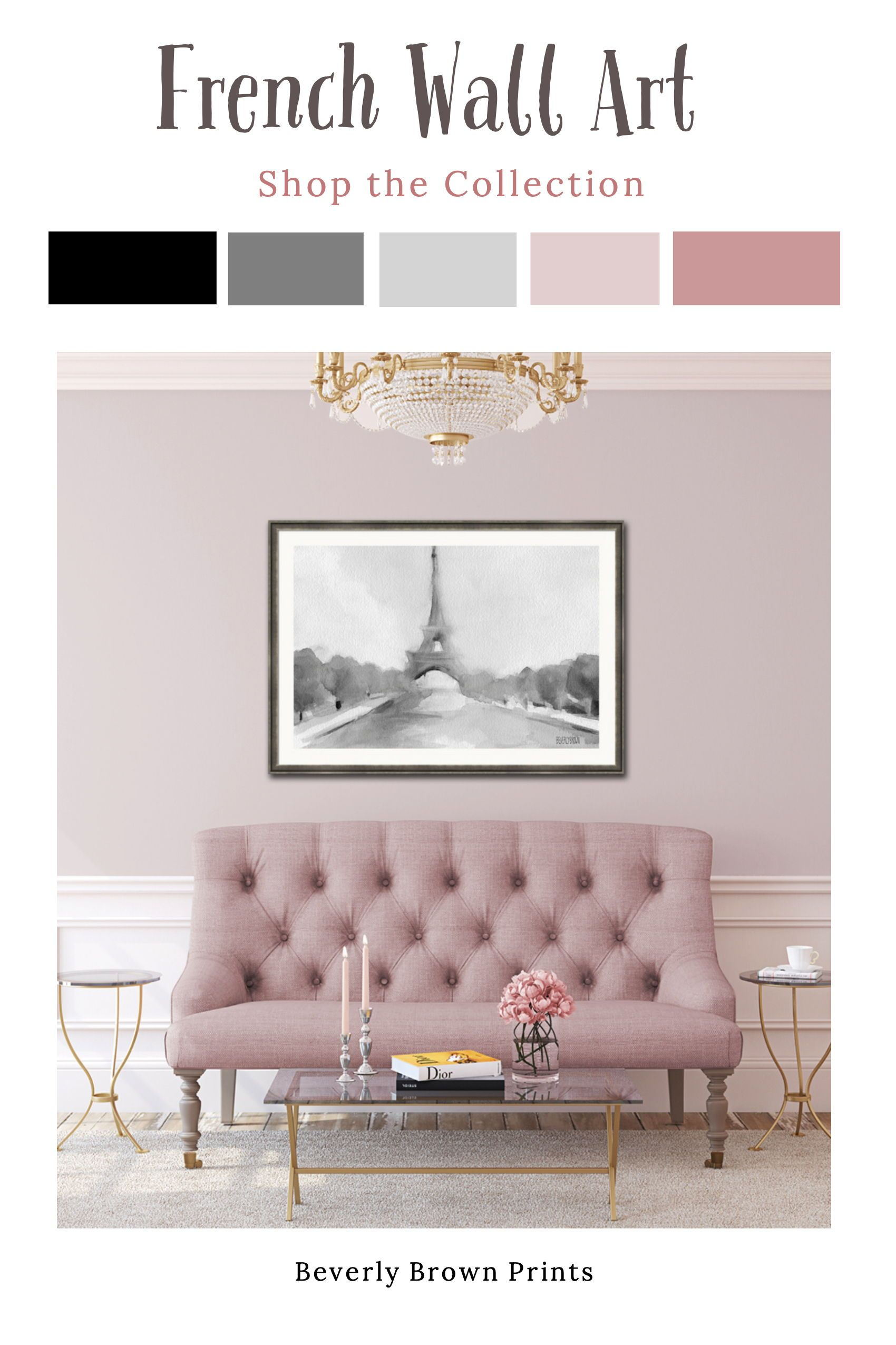 Elegant Chic French Paris French Country Wall Art Framed