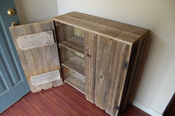 Reclaimed Wood Cabinet Fenced Doors. LARGE Wooden Pantry. Wooden Cabinet.  Rustic Furniture.