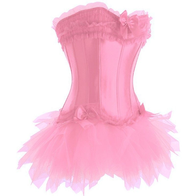 FREE P+P PINK WITH BLACK TRIM CORSET WITH SKIRT