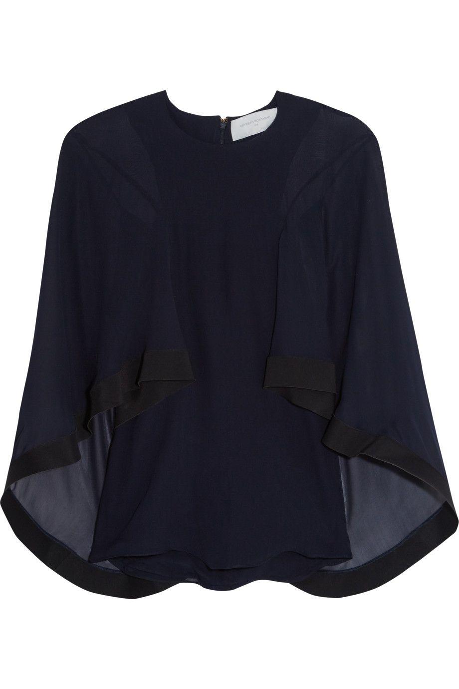 ESTEBAN CORTAZAR Cape-effect cady-trimmed silk-chiffon blouse. #estebancortazar #cloth #blouse