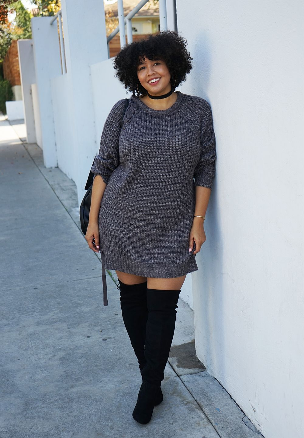 Sweater Dress And Over The Knee Boots I Feel Like You Could Really Rock Over The Knee Boots September Outfits Curvy Outfits Transition Outfits