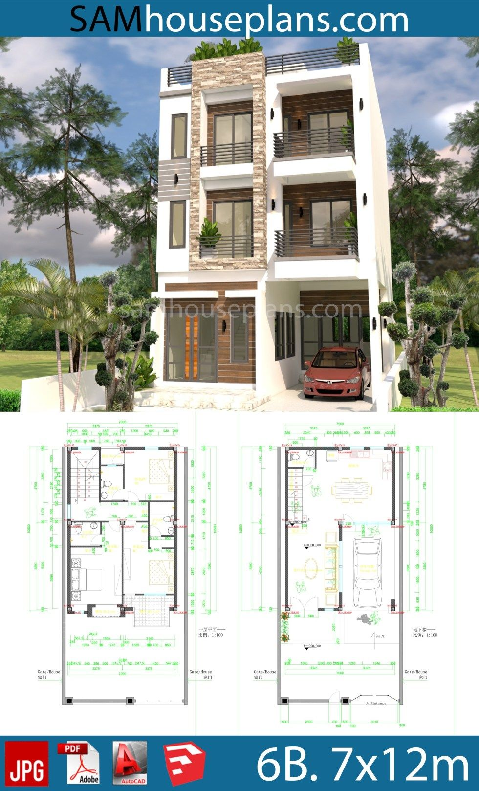 House Plans 7x10m With 6 Bedrooms Sam House Plans Two Story House Design Model House Plan Bungalow House Plans