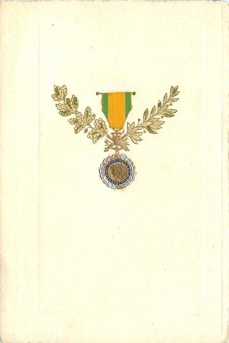 REPUBLIC FRANCAISE open wreath, green ribbon above inscribed round medal