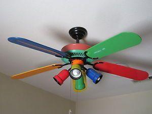 52 Vintage Hampton Bay Primary Colors Ceiling Fan 353 220 W Light Kit Ceiling Fan Ceiling Primary Colors