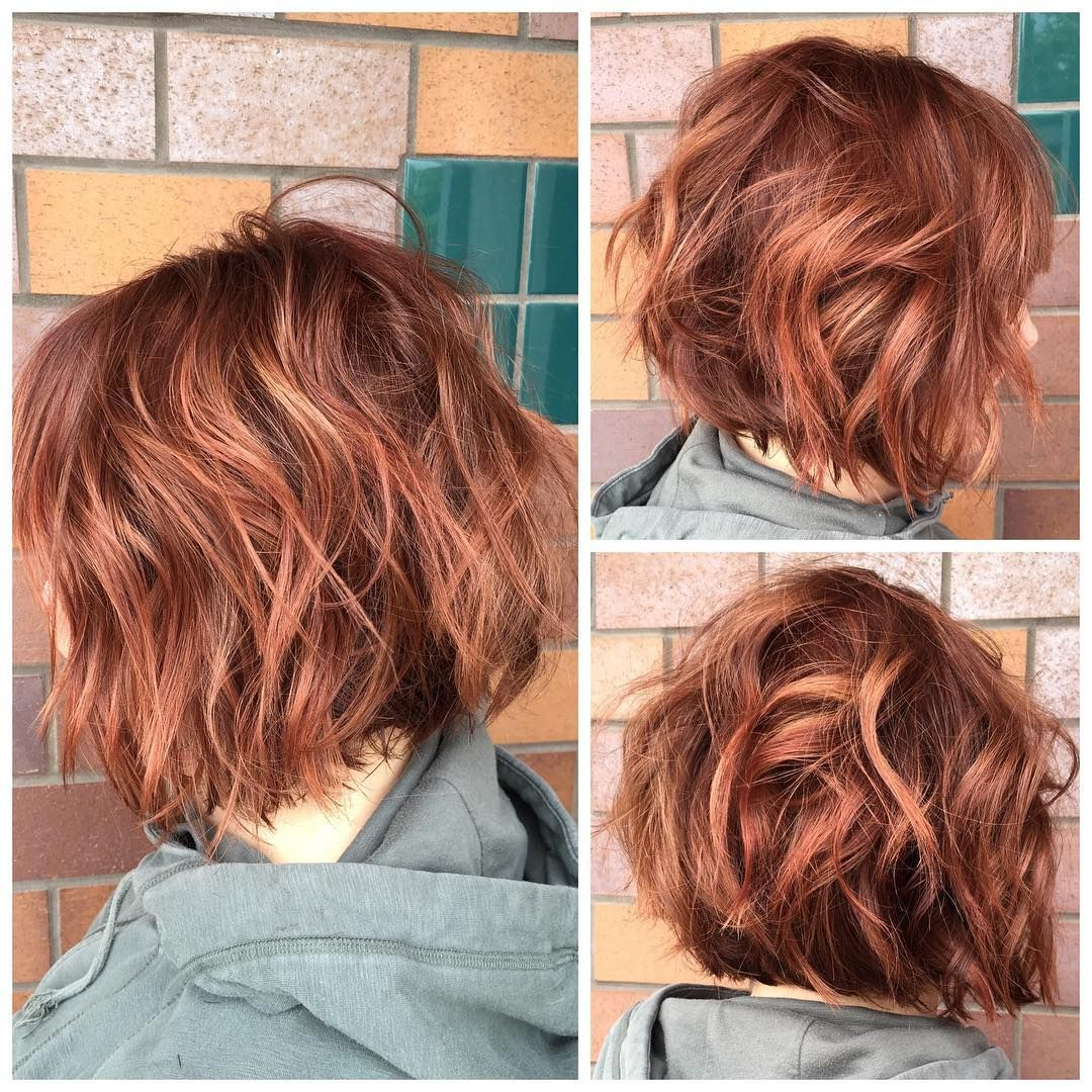 More dimensional red color and a textured bob haircut for haley