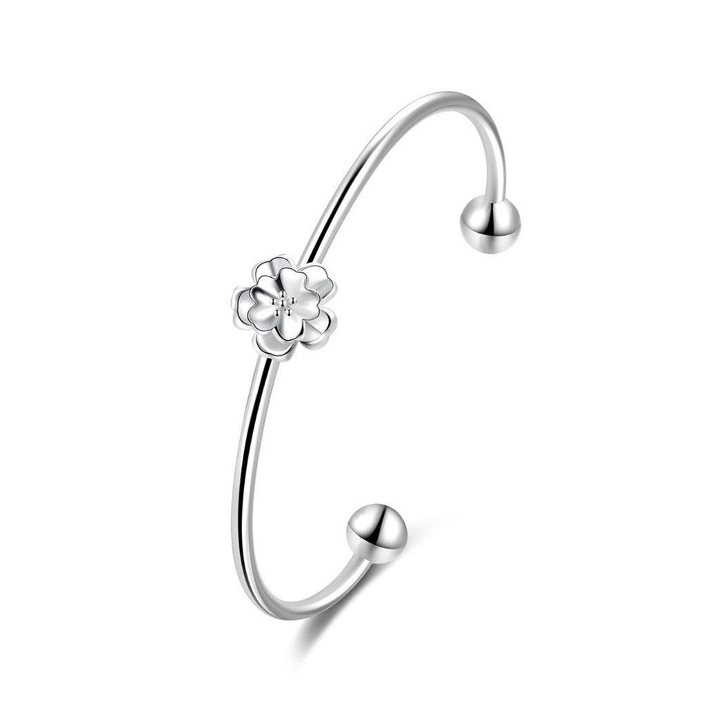 Silver plated bangle bracelets for women girls flower shape open end
