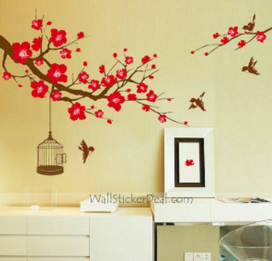 wall sticker. tree. flowers. bird cage. | bedroom ideas | pinterest