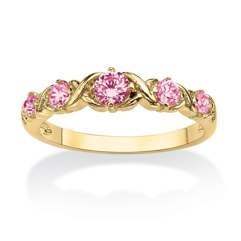 "Round Birthstone 14k Gold-Plated ""X & O"" Stackable Ring #PalmBeachJewelry #Band"