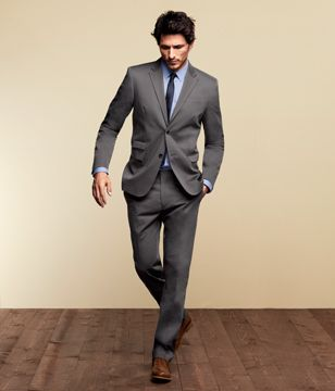 446deeaf2 +outfit (@ H & M) // Grey suit contrasted with shoes that work in adding a  #pop of colour