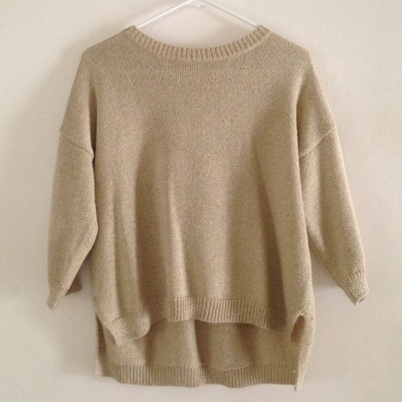 hi-low sweater top size S Worn once- champagne gold color sweater ...