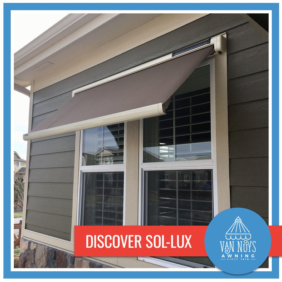 Conserve Energy With Sol Lux A Smart Awning That Uses Solar Energy To Automatically Extend When The Sun Directly Shines Through In 2020 Awning Windows Window Awnings