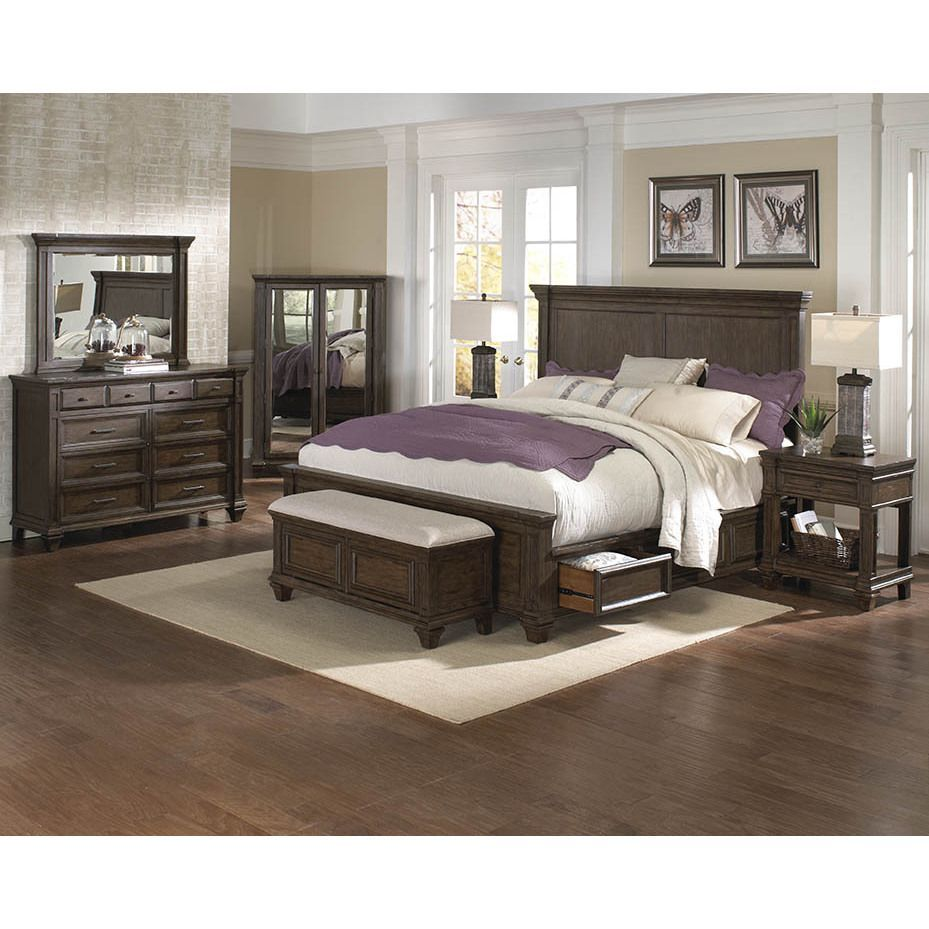 Simply solid logan solid wood piece bedroom collection brown