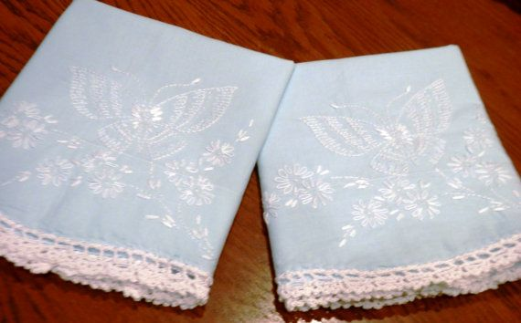 Butterfly and Daisies, Blue Handmade Pillowcases, Embroidery, Hand Crocheted