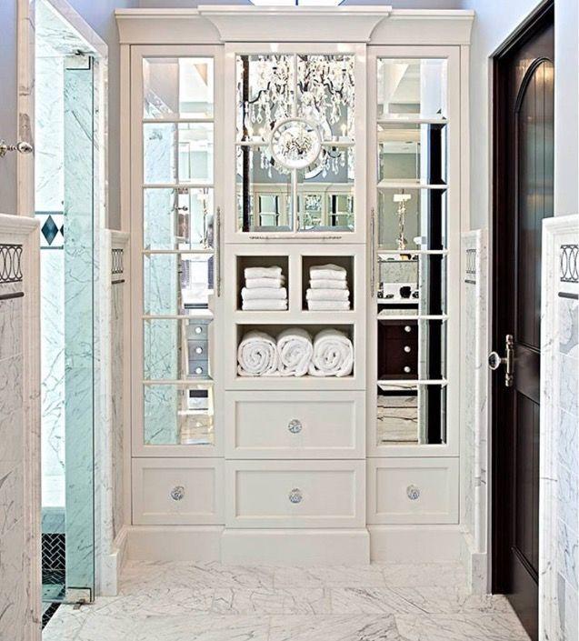 mirrored cabinets with open shelves inspiration pinterest m bel robin und deko. Black Bedroom Furniture Sets. Home Design Ideas