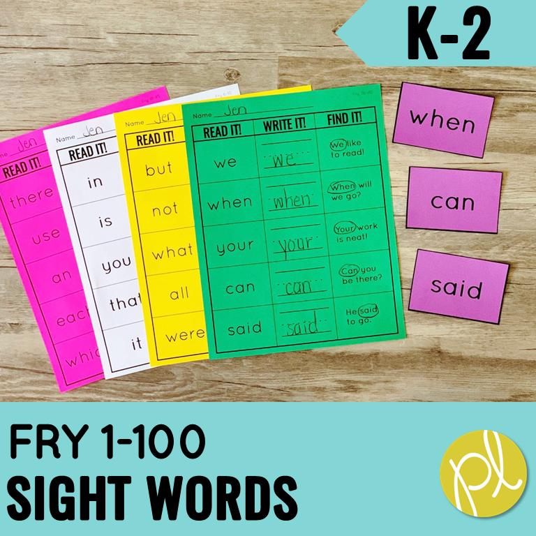 Word Practice, Sight Word Practice