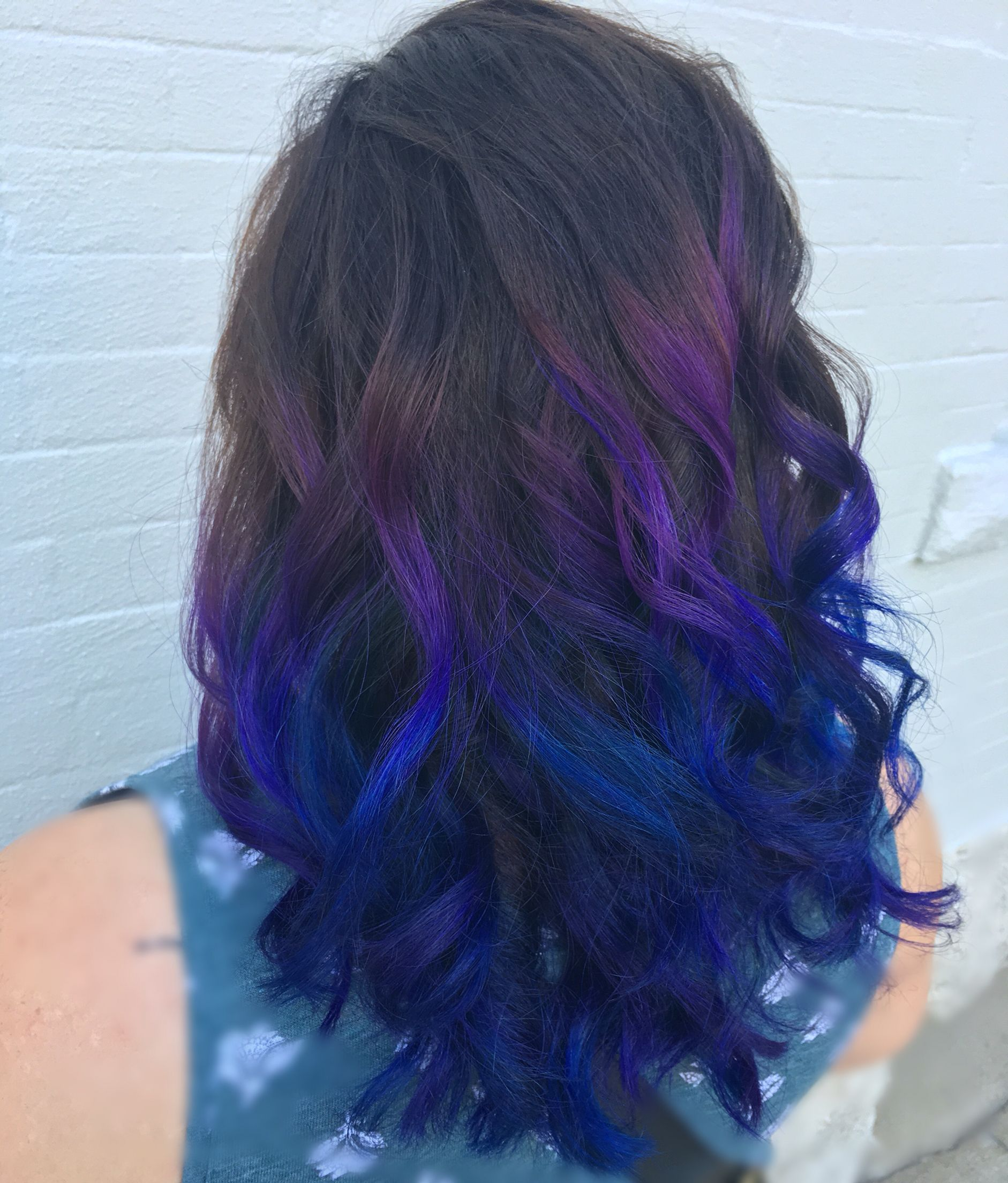 Pravana Purple Blue Magenta Hair Natural Level 5 Hair Used Redken 4n On Zone 1 Balayaged With Redken Flash Lift And 35 Vol Magenta Hair Hair Dye Tips Hair
