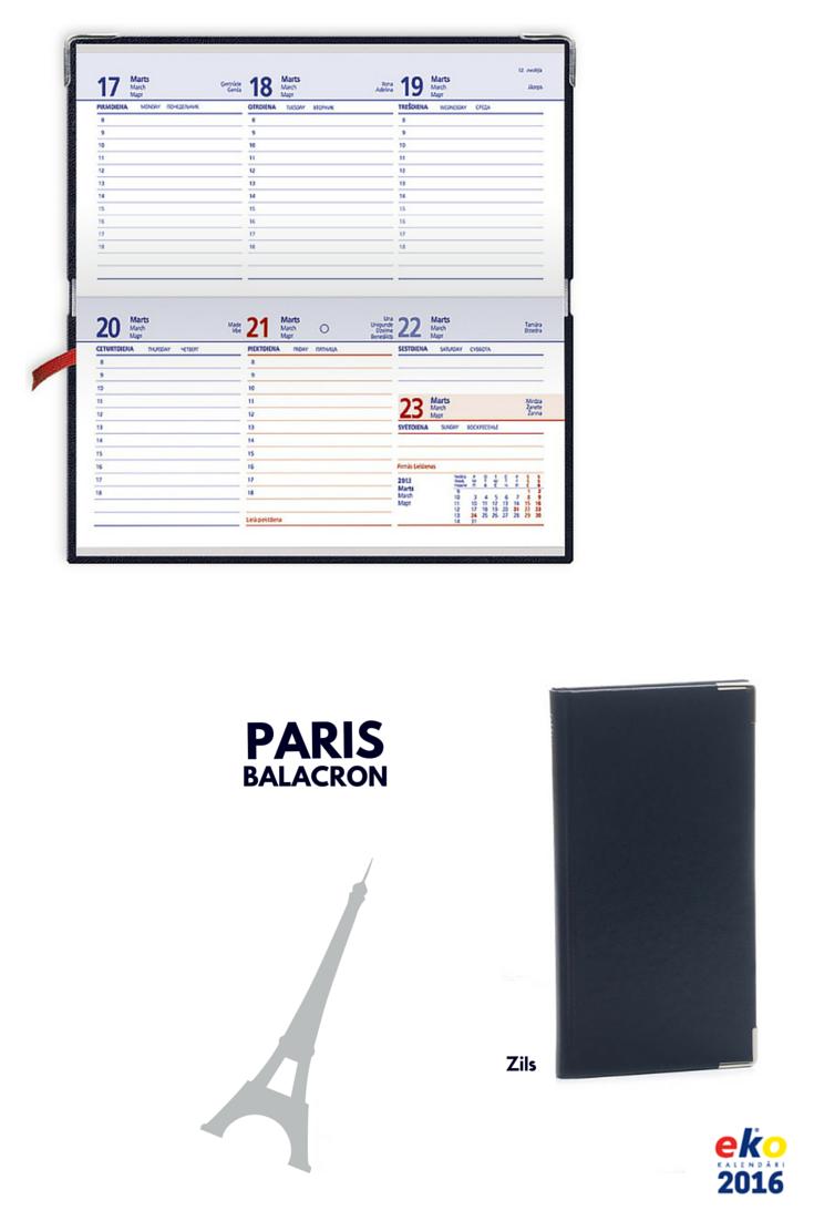 BALTA eko 2016.gada plānotāju kolekcija: PARIS Balacron Zils.