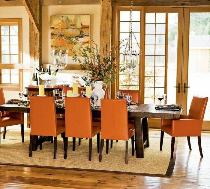 esszimmer einrichten orange stühle rustikaler esstisch holzbalken, Esstisch ideennn