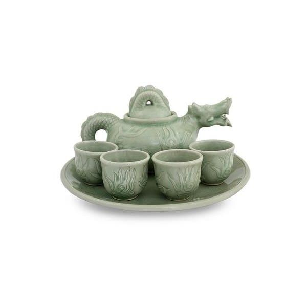 NOVICA Celadon Ceramic Tea Set from Thailand ($180) ? liked on Polyvore featuring home kitchen u0026 dining teapots coffee u0026 tea service green homedecor ...  sc 1 st  Pinterest & NOVICA Celadon Ceramic Tea Set from Thailand ($180) ? liked on ...