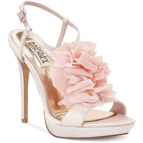 Badgley Mischka Shoes, Adele Flower Evening Sandals (315 AUD) ❤ liked on Polyvore featuring shoes, sandals, heels, chaussures, high heels, high heel shoes, ankle strap sandals, evening sandals, flower sandals and ankle strap platform sandals