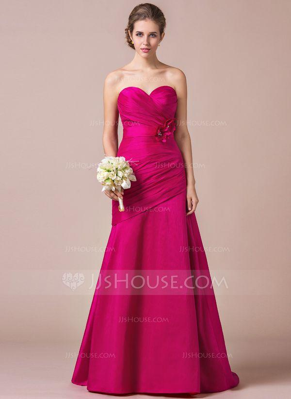 Trumpet/Mermaid Sweetheart Sweep Train Taffeta Bridesmaid Dress With ...