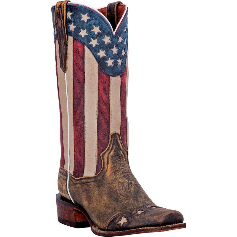 Dan Post Cowboy Certified Mens Brown Leather Liberty Stars Stripes Boots