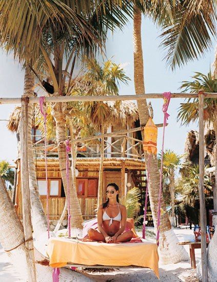 The yoga-themed Amansala, outside the town of Tulum, is a hippie commune turned yoga retreat; its sister property, down the beach, occupies a home originally built for drug kingpin Pablo Escobar.