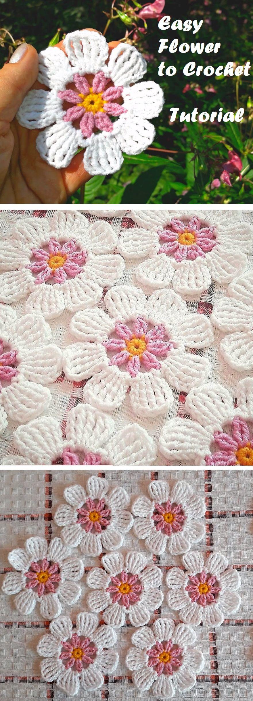 Easy Crochet Flower Tutorial   kwiaty szydełkowe   Pinterest ...
