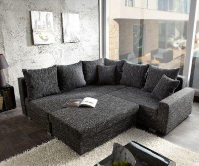 Sofa Lavello Schwarz 210x210 mit Hocker Ottomane Links Ecksofa Jetzt