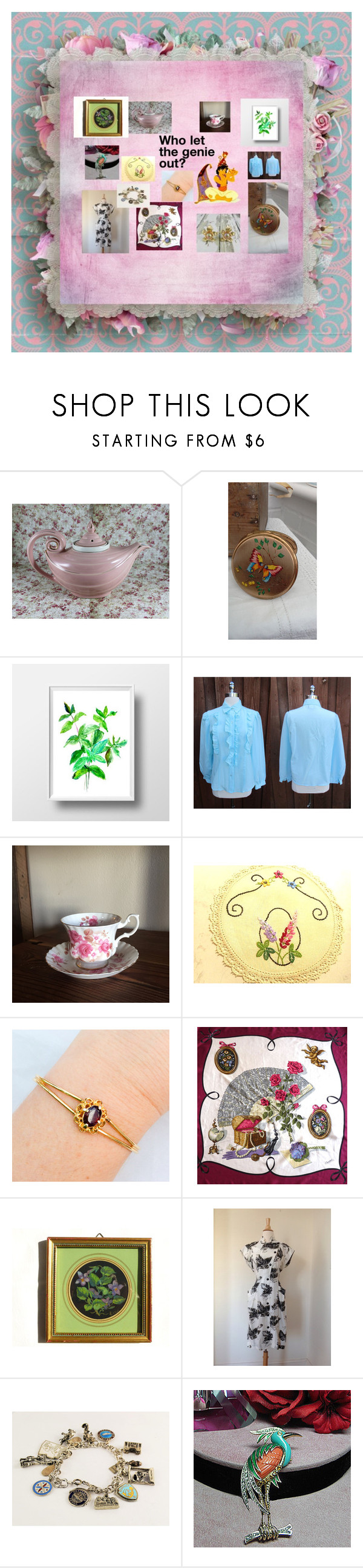 """""""Who let the genie out?"""" by ourboudoirkate ❤ liked on Polyvore featuring Royal Albert and Hattie Carnegie"""