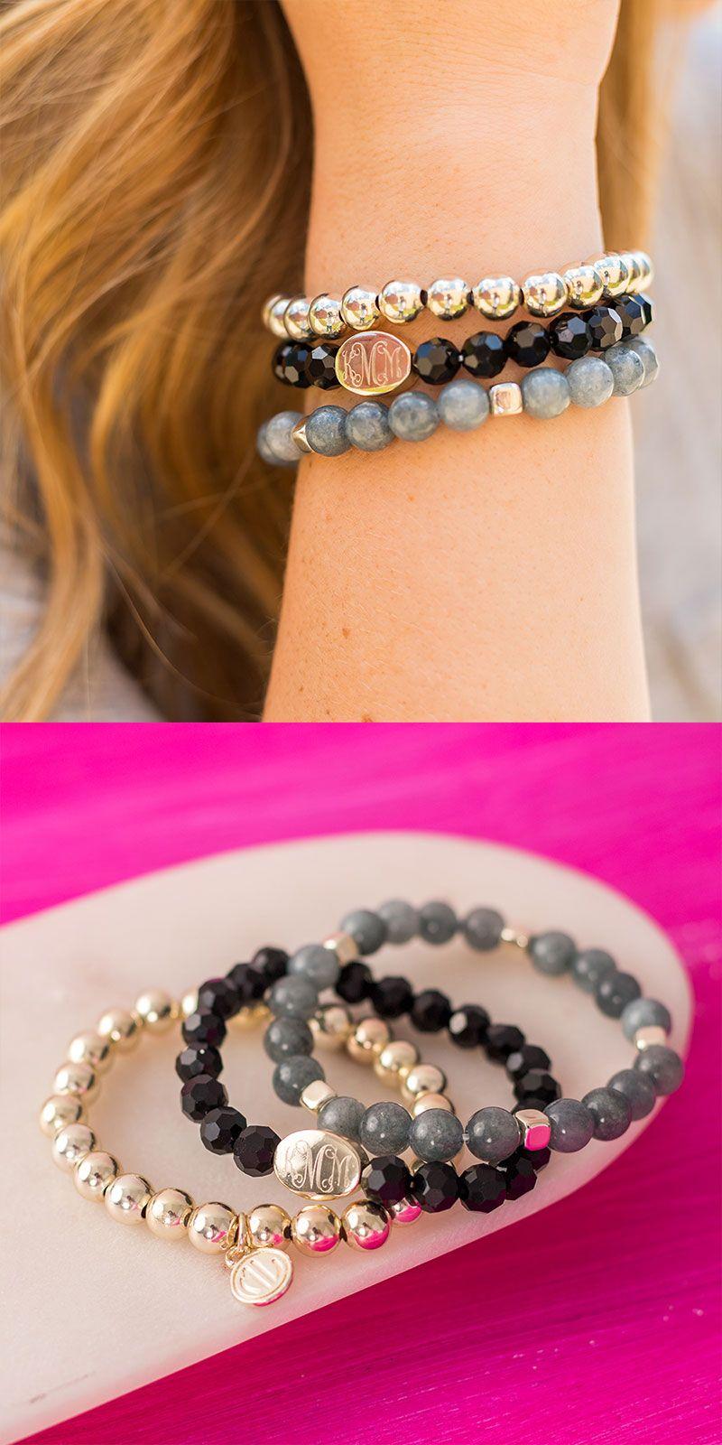 Beautiful monogrammed beaded bracelets beaded