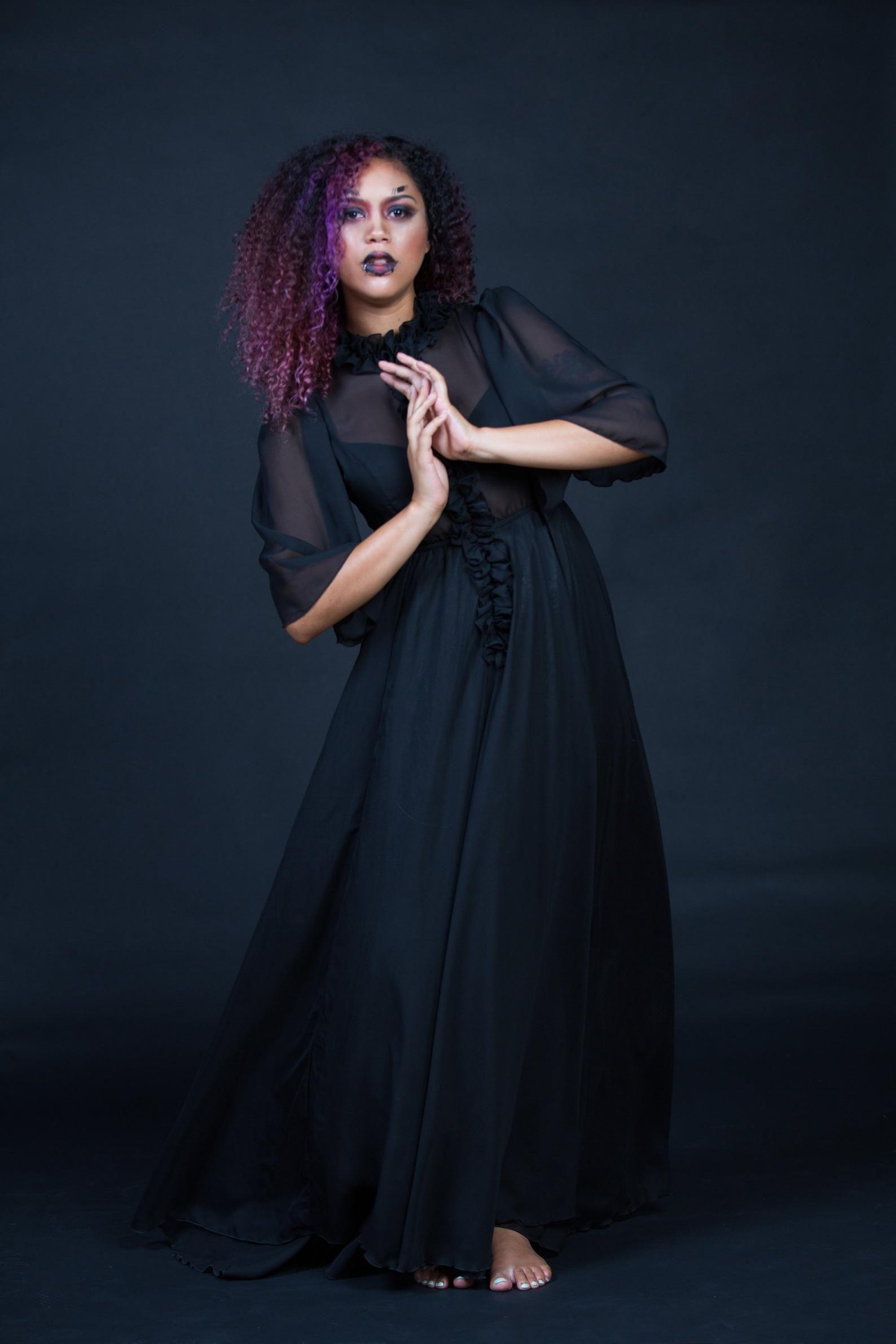 Black chiffon dress witchy clothing witch costume