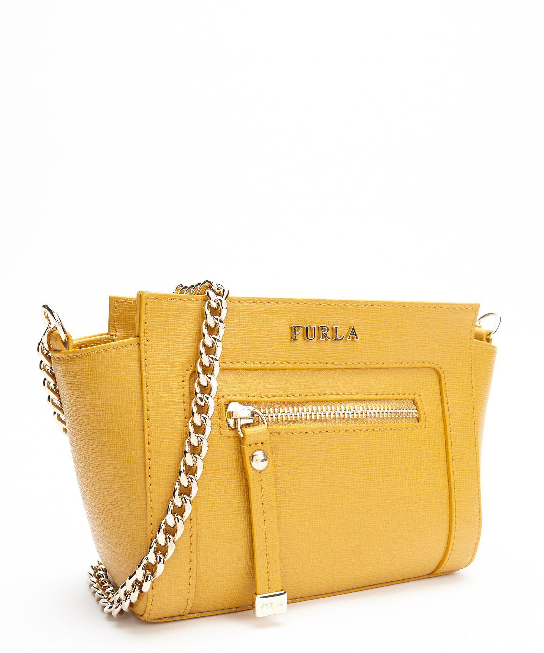 The Furla yellow leather mini 'Ginevra' chain crossbody at Bluefly.