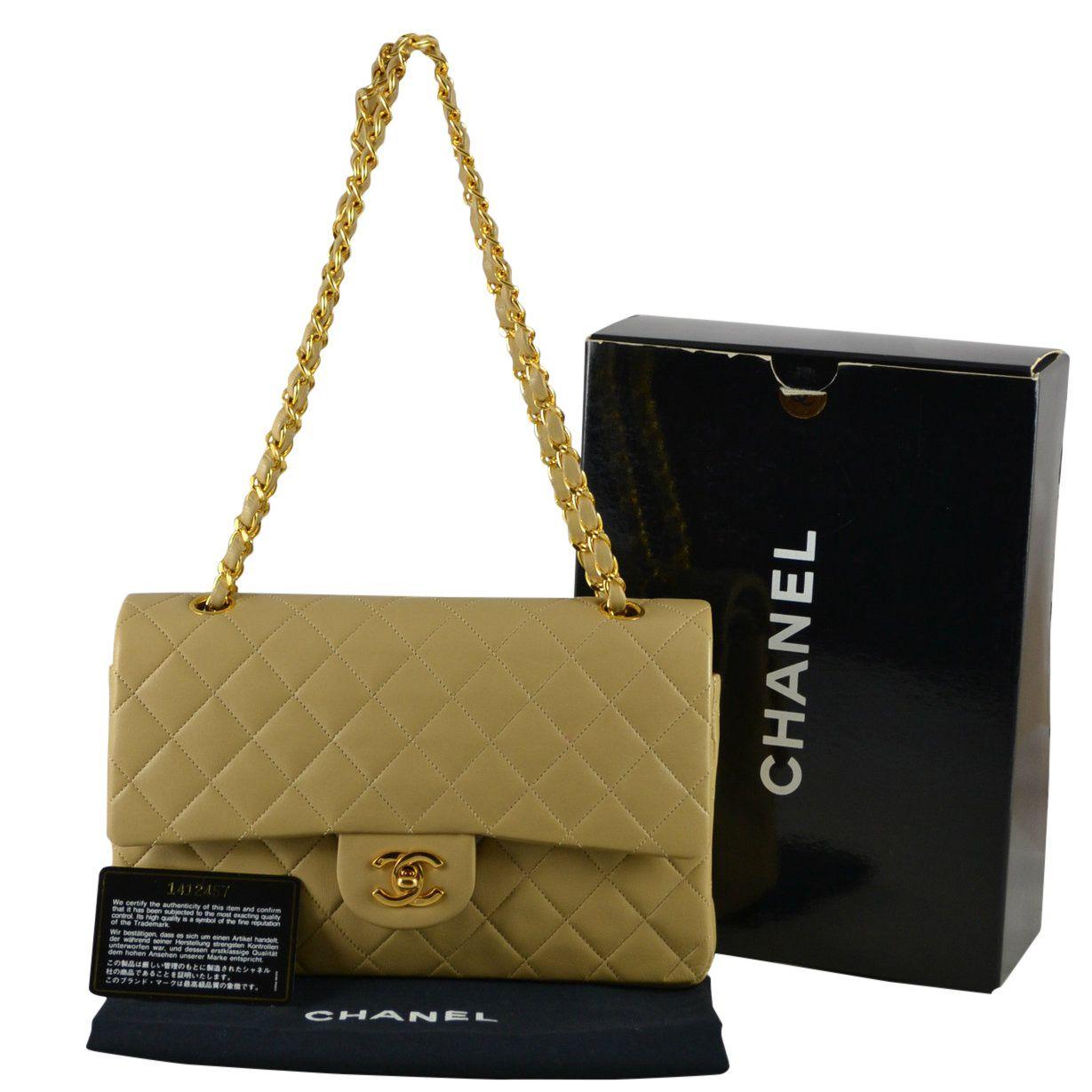 f355792e406e Chanel Nude Lambskin Medium Classic Flap Bag (SL) - Keeks Buy + Sell  Designer…