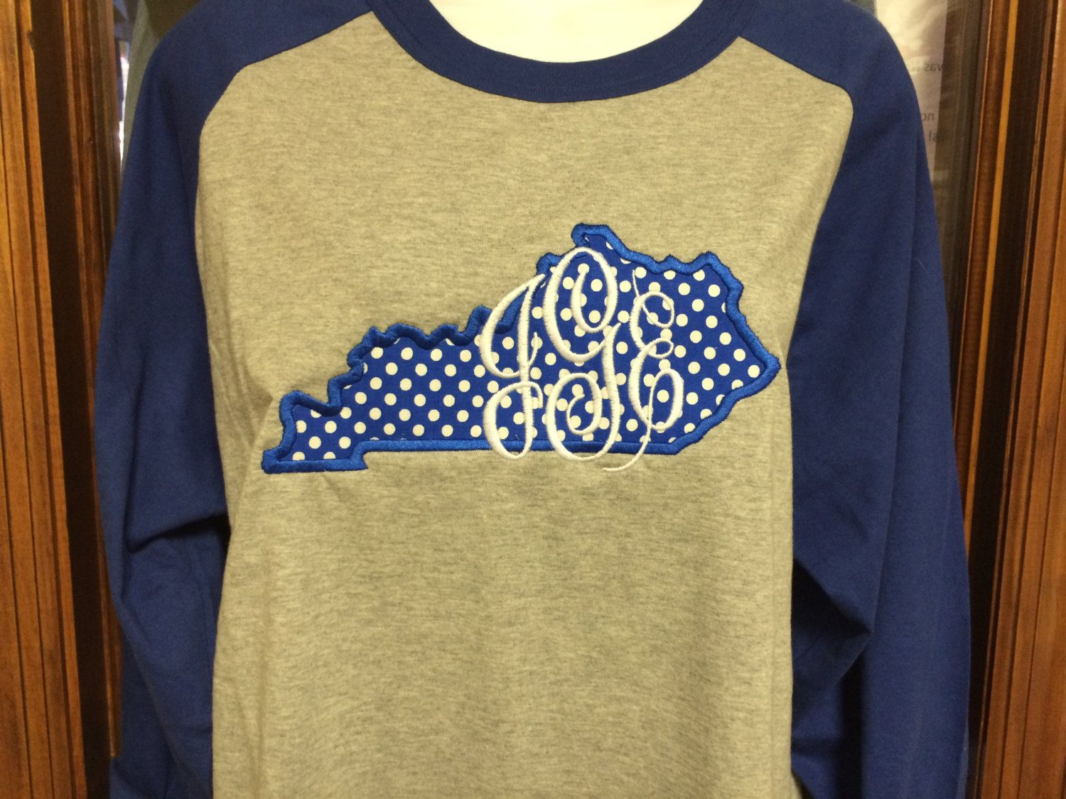 Monogrammed state of kentucky appliqued baseball tee embroidery