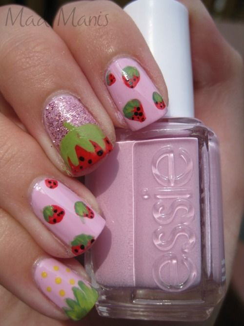 Cute Nails Reminds Me Of Strawberry Shortcake